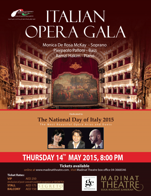 Italian Opera Gala in honor of the Italian National Day 2015 at Madinat Theatre