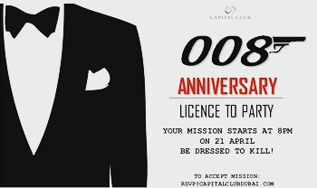 Capital Club Dubai to celebrate 8th Birthday with James Bond themed party