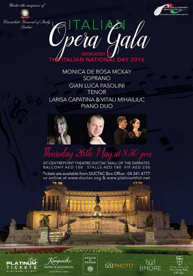 The Italian Opera Gala @ DUCTAC on 26th May 2016