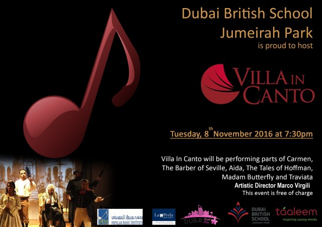 Villa In Canto Opera Night @ Dubai British School Jumeirah Park on 8th Nov 2016