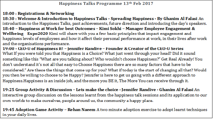Happiness Talks - Spreading Happiness on 13th February 2017