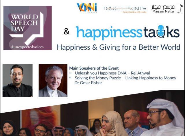 World Speech Day + Happiness Talks Banner