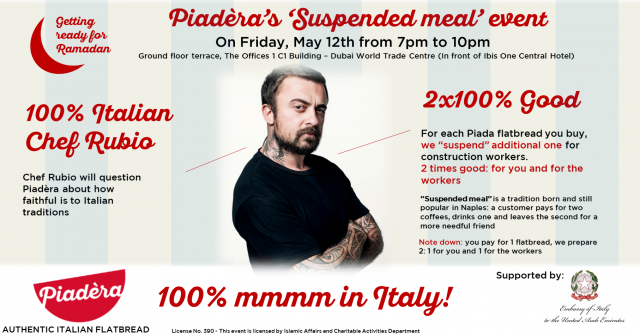 "Chef Rubio @ Piadèra's ""Suspended Meal"" Event on 12th May 2017"