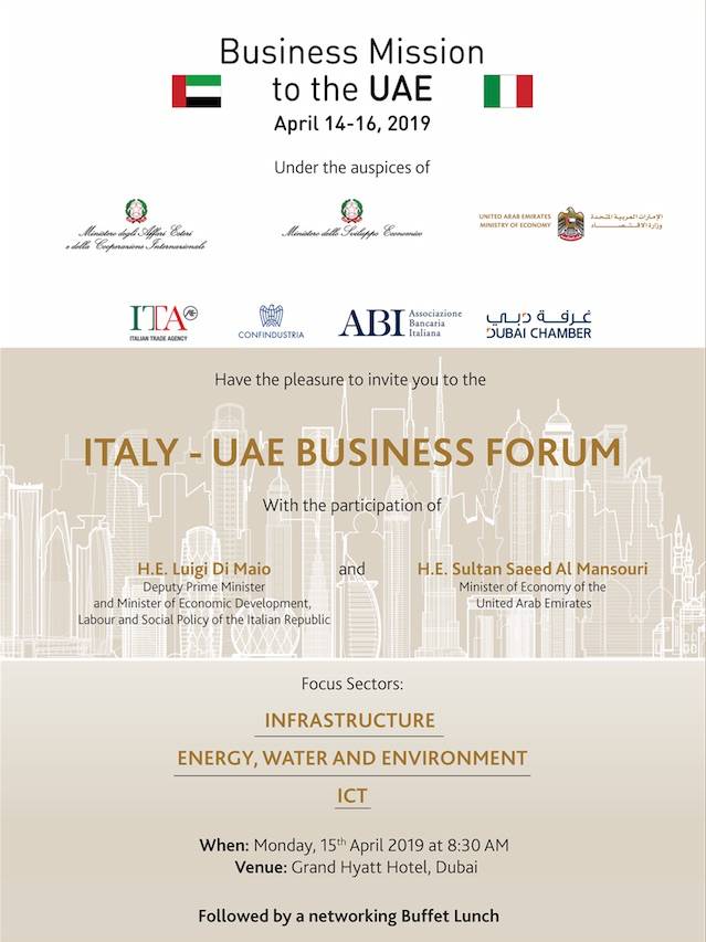 Italy's Deputy Prime Minister Leading a Delegation to the UAE to Discuss Business Opportunities in Infrastructure, Energy and ITC